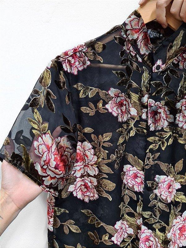 Camisa Veludo Floral