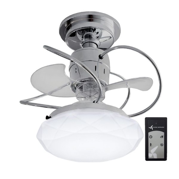 Ventilador de Teto Treviso Cancun Cromado C/ Controle Remoto e LED18W Bivolt