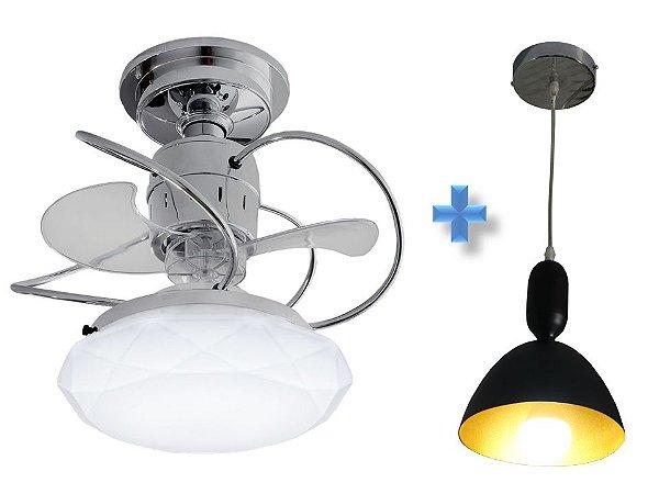 Ventilador de Teto Treviso Cancun Cromado  LED  + Pendente