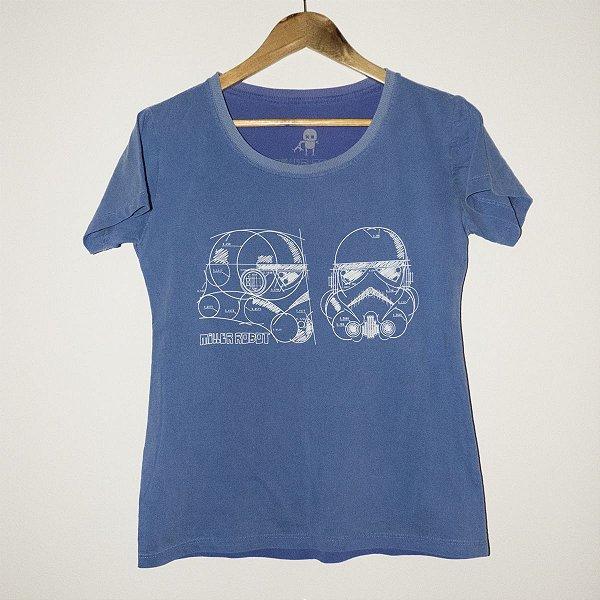 Camiseta Babylook Estonada Azul Trooper