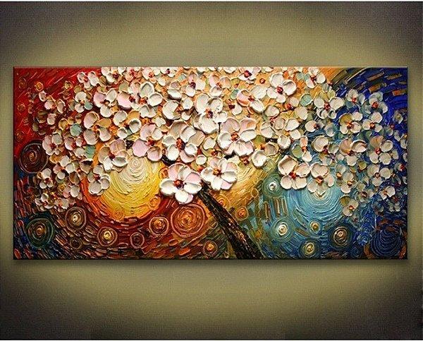 Pintura em tela -  Flores  - Tam. 120x60 cm