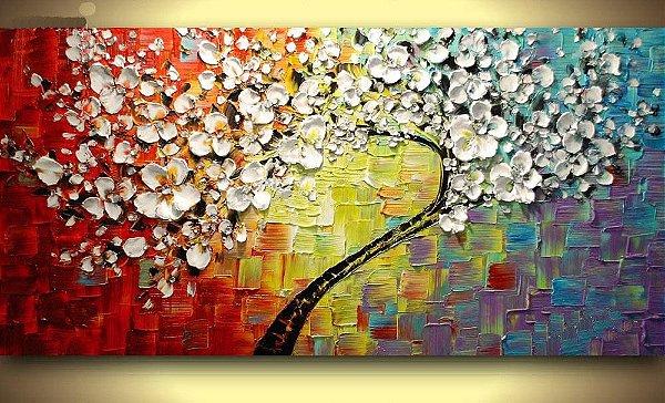 Pintura em tela abstrato - Árvores - Tam. 120x60 cm