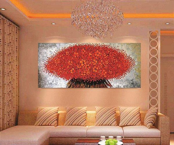 Pintura em tela - Buquê vermelho - Tam. 120 x 60 cm