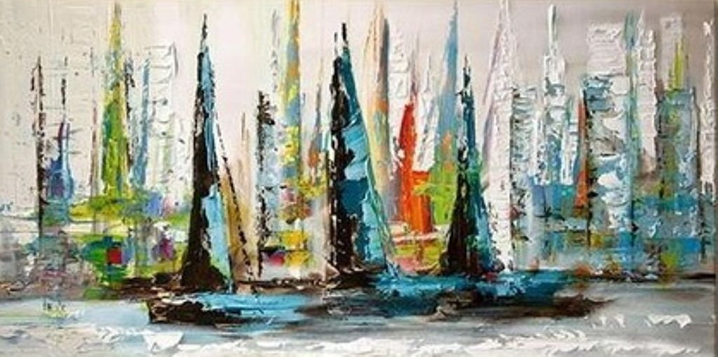 Quadro Pintura em tela Veleiros - Tam. 120 x 60 cm