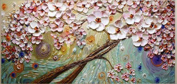 Pintura em tela abstrato moderno - Árvores - Tam. 120x60 cm
