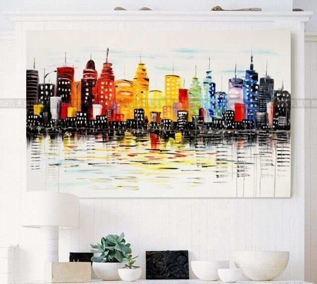 Pintura em tela Abstrato Moderno Metrópole Colorida - Tam. 120x60 cm