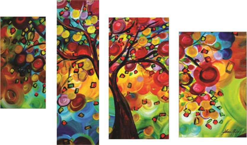Quadro Pintura em Tela Árvores Coloridas Modernas  100 x 175