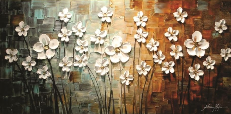 Quadro Pintura em tela - Flores brancas - Tam. 140x70cm