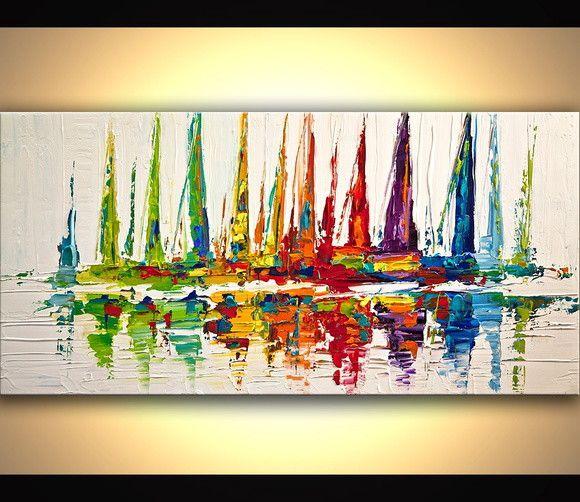 Quadro  Pintura em Tela Abstrato Moderno Espatulado Veleiros - Tam. 120x60 cm