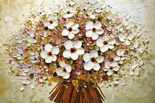 Quadro Decorativo Pintura em Tela Floral  70 X 140