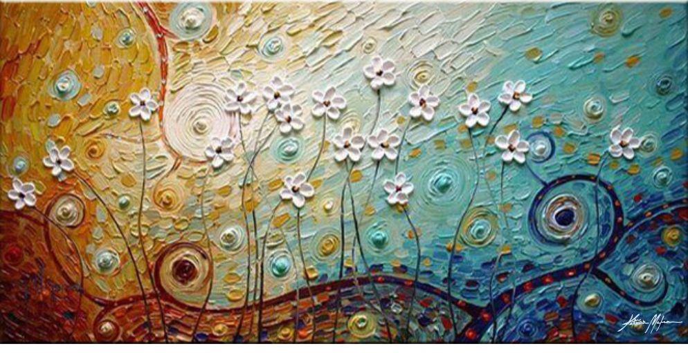 Quadro decorativo - Pintura em tela abstrato moderno flores brancas