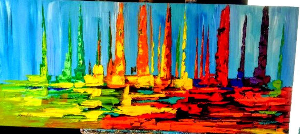 Pintura em tela abstrato veleiros coloridos