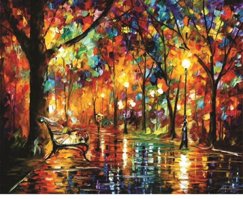 Quadro - Pintura em tela Paris iluminada espatulada
