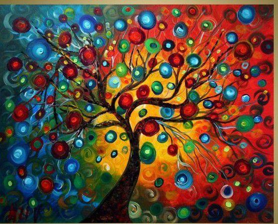 Quadro Pintura em Tela Abstrato Moderno Árvore Coloridas - Tam. 110x100cm