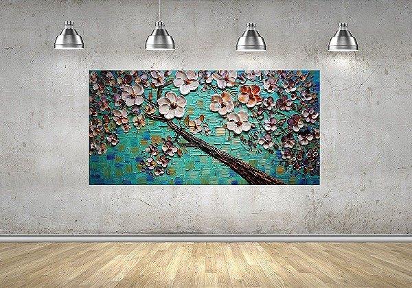 Quadro - Pintura em Tela Árvores Modernas Flores Espatuladas