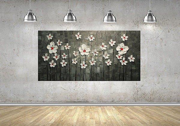 Quadro Pintura em Tela Flores Brancas Espatuladas