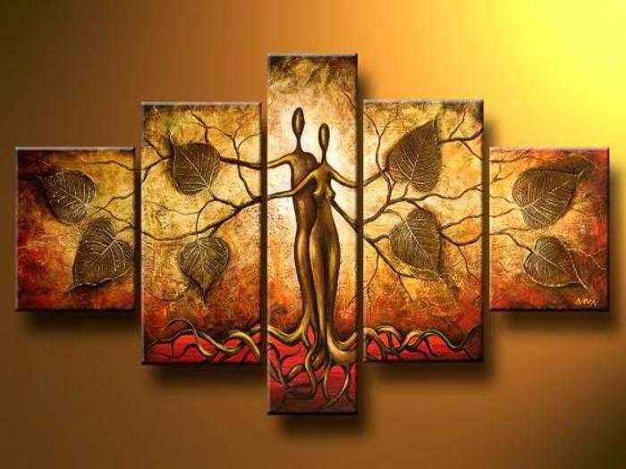 Quadro  Pintura em Tela Abstrato Moderno Espatulado Árvore da Vida