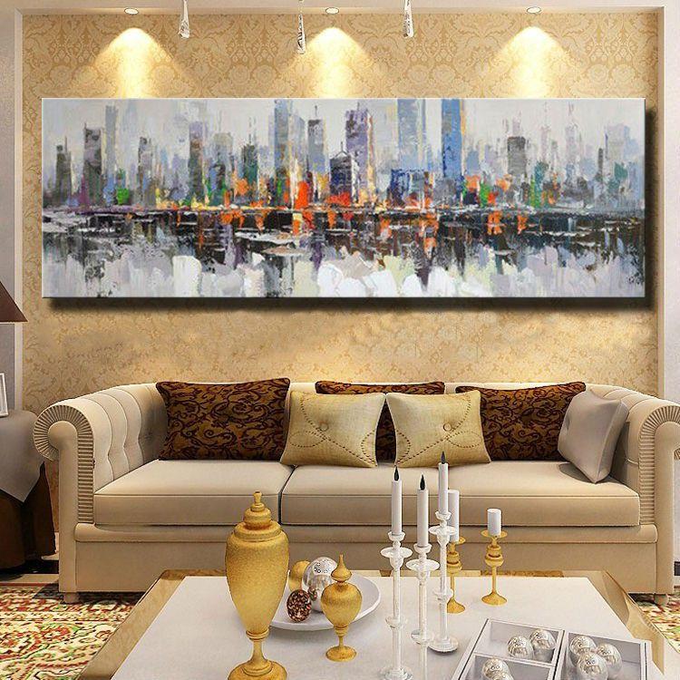 Quadro Decorativo Pintura em Tela Abstrato Metrópole