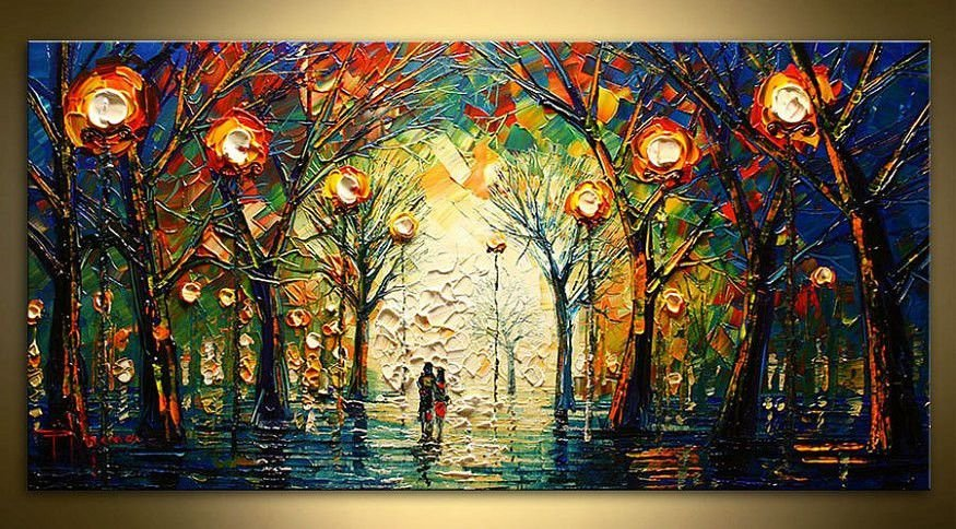 Quadro Pintura em Tela Bosque Iluminado Espatulado