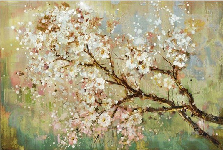 Quadro  Pintura em Tela Árvores Modernas Flores Espatuladas Efeito 3d