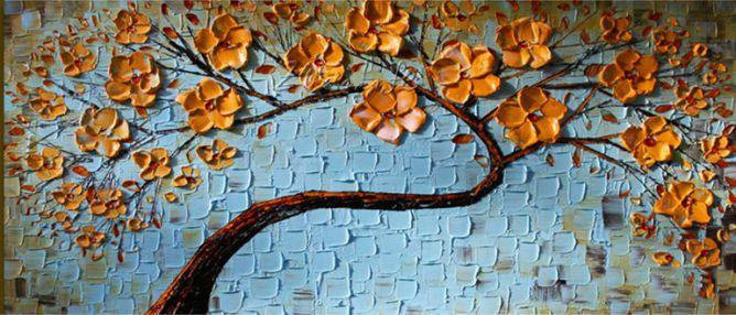 Quadro Decorativo Pintura em Tela Árvores Modernas Flores Espatuladas