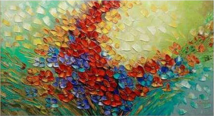 Quadro Pintura em Tela Abstrato Flores Coloridas