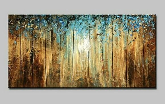 Pintura em tela abstrato Floresta Iluminada 80 x 160