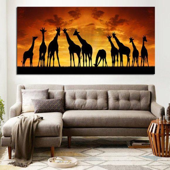 Pintura em tela quadro Girafas na Africa 180 cm comp x 90 cm alt