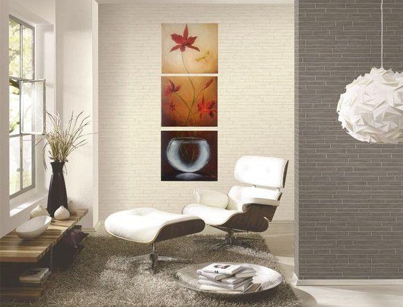 Pintura em tela quadro orquídeas vermelha 3 peças