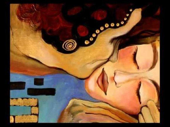 Quadro o beijo pintura em tela 80 x 100 montada