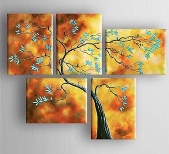 Pintura em tela quadro Árvore de passarinhos 80 cm x 100 cm
