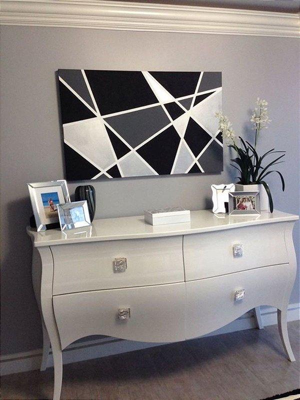 Pintura em tela quadro em Preto ,Branco e Cinza 150 cm x 80 cm