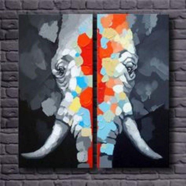 Pintura em tela Elefante da Sorte - Tam. 100 X 100