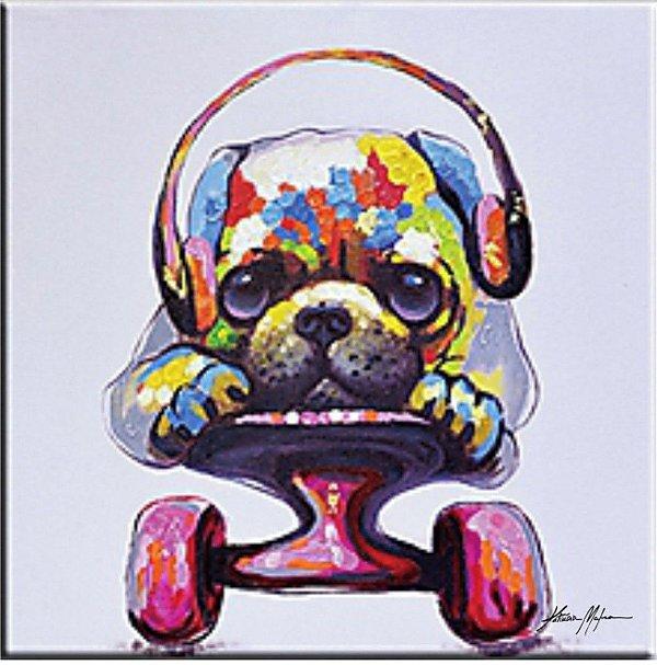 Pintura em tela QUADRO CÃO AMIGO 80 X 80 cm
