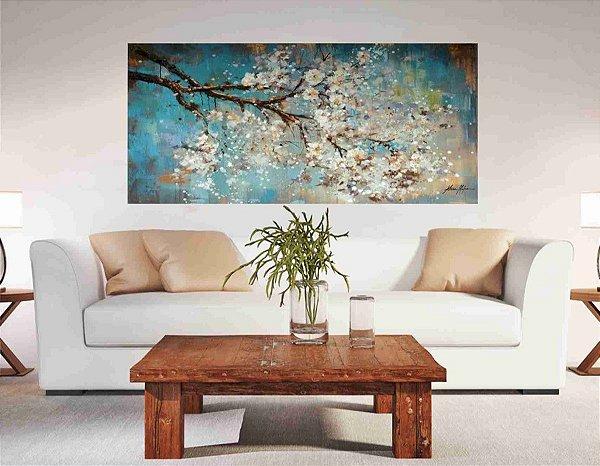 Pintura em tela Flores Brancas