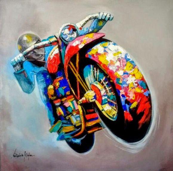 Quadro Pintura em tela Abstrato Moderno Motociclista