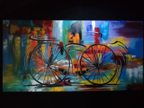 Quadro Pintura em tela Abstrato Moderno Bicicleta