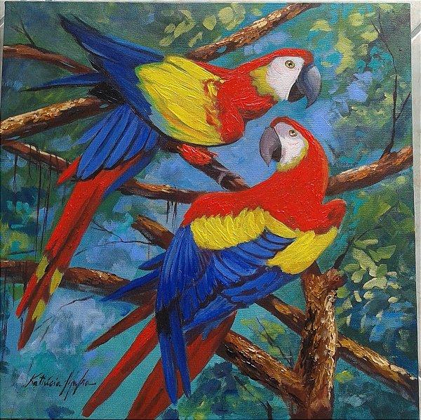 Quadro Pintura em tela Araras
