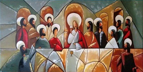 Quadro Pintura em Tela Santa Ceia Cubista