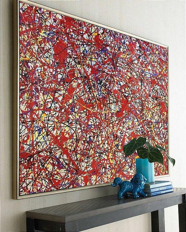 Quadro Pintura em Tela Abstrato Mistura de Cores