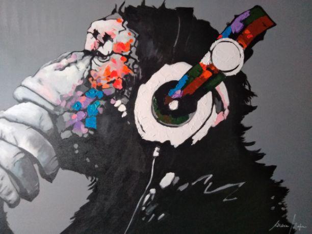 Pintura em Tela Macaco Chipanzé Moderno