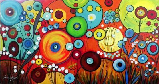 Quadro Decorativo Pintura em tela Abstrato Moderno Colorido