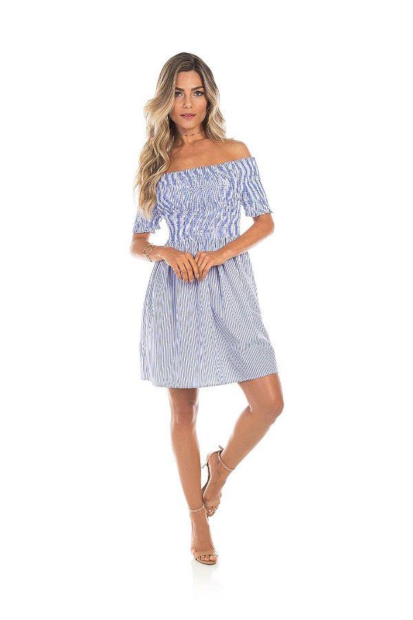 Vestido Em Tricoline Azul Listrado Com Lastex  E Comprimento Básico