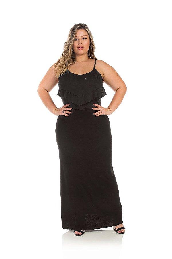 Vestido Longo Preto Com Babado Plus Size