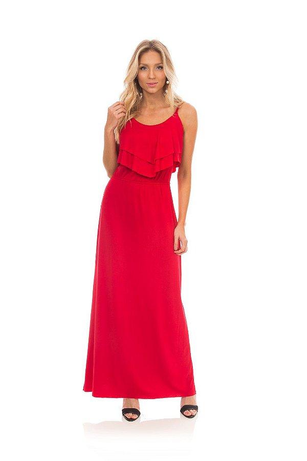 Vestido Longo Vermelho Com Babado