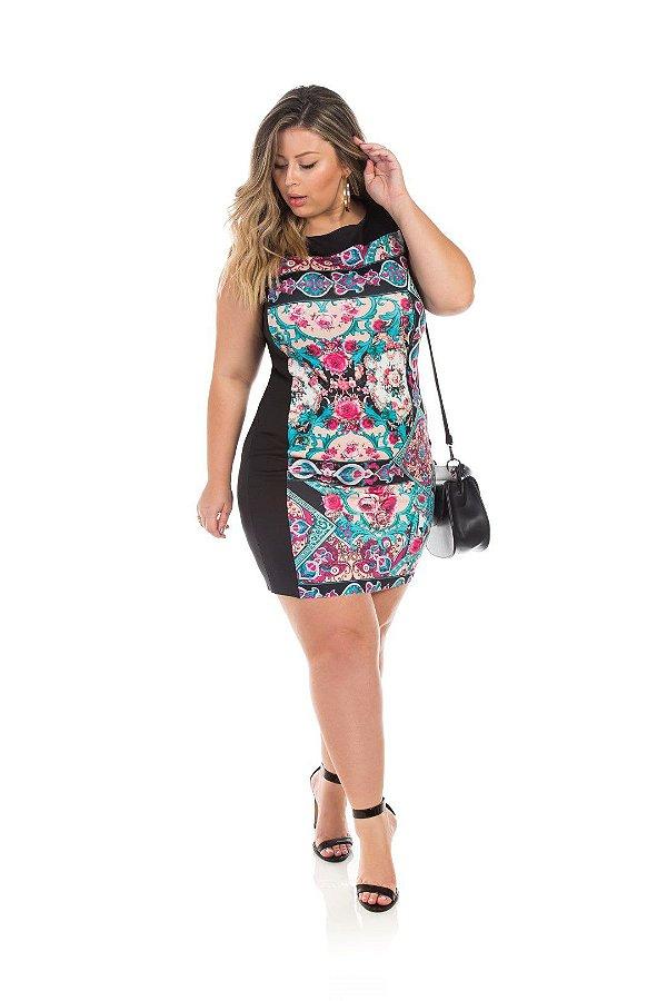Vestido Estampado E Comprimento Clássico Plus Size