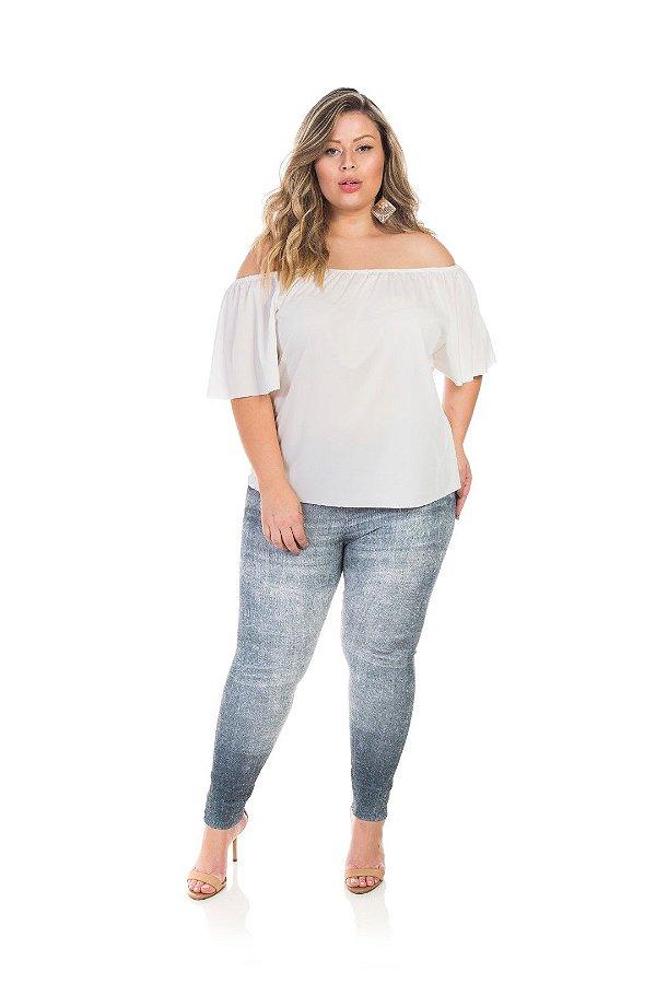 Blusa Em Poliéster Ombro  A Ombro Branca Plus Size