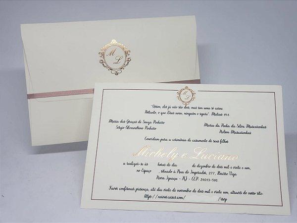 Convite casamento classico rose Gold Hostamping