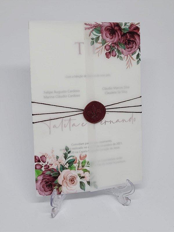 Convite casamento vegetal marsala e flores
