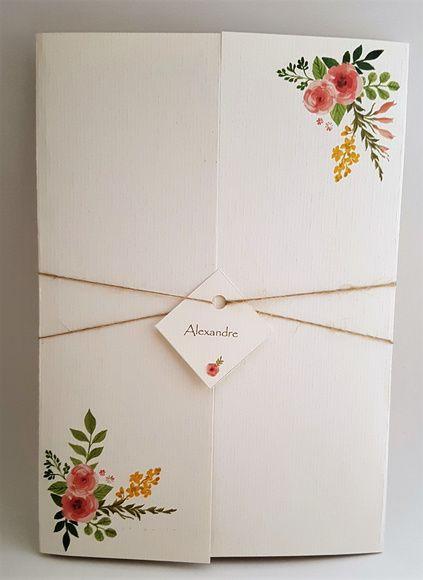 Convite de casamento clássico floral